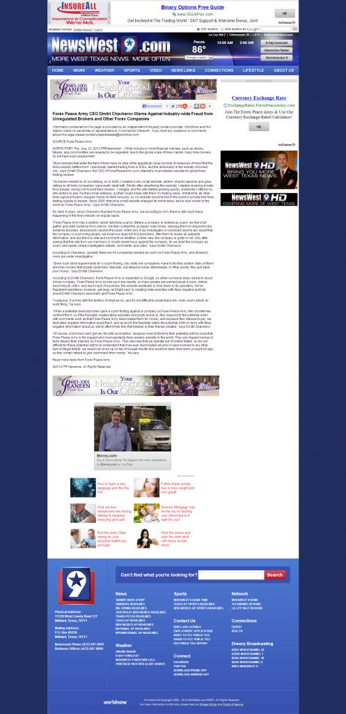Forex Peace Army - KWES-TV NBC-9 (Midland, TX)