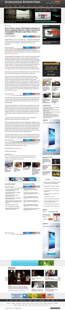 Forex Peace Army - Internationanl Businees Times (ibtimes) PR7