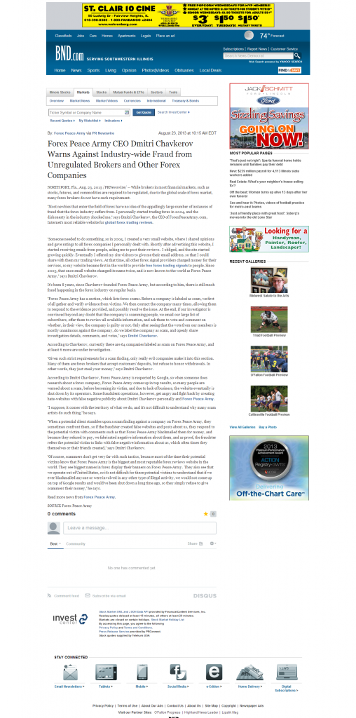 Forex Peace Army - Belleville News-Democrat
