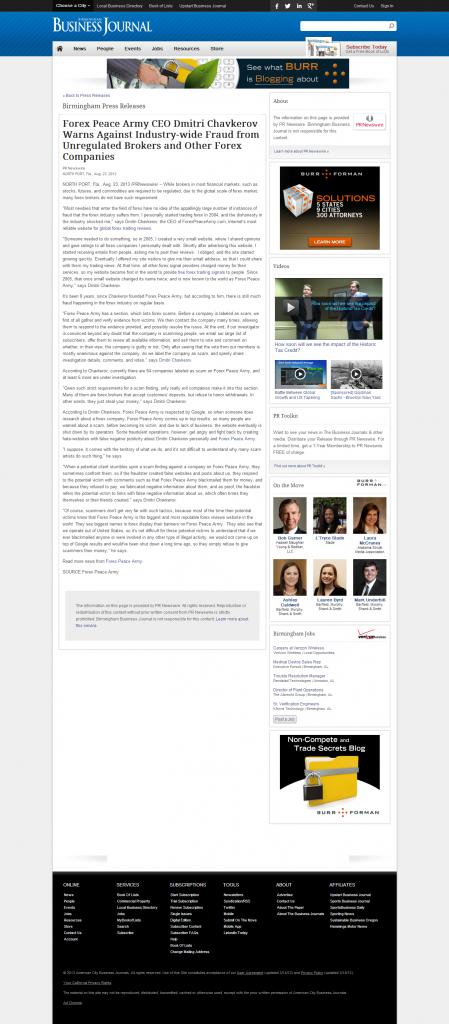 Forex Peace Army - Birmingham Business Journal
