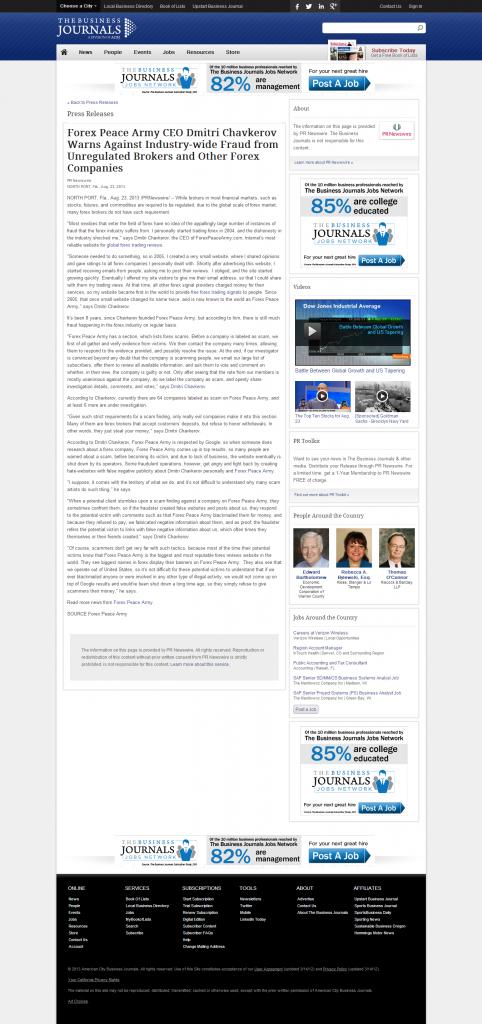 Forex Peace Army - Bizjournals.com, Inc.