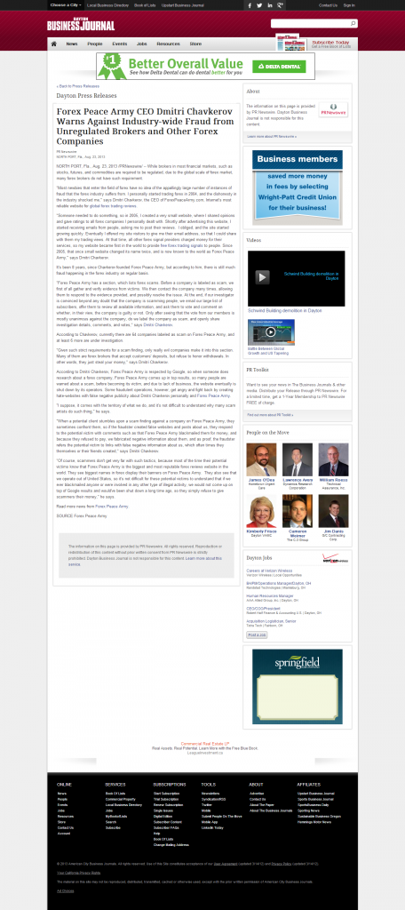 Forex Peace Army - Dayton Business Journal