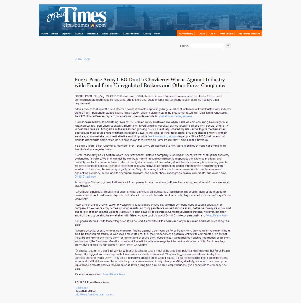 Forex Peace Army - El Paso Times