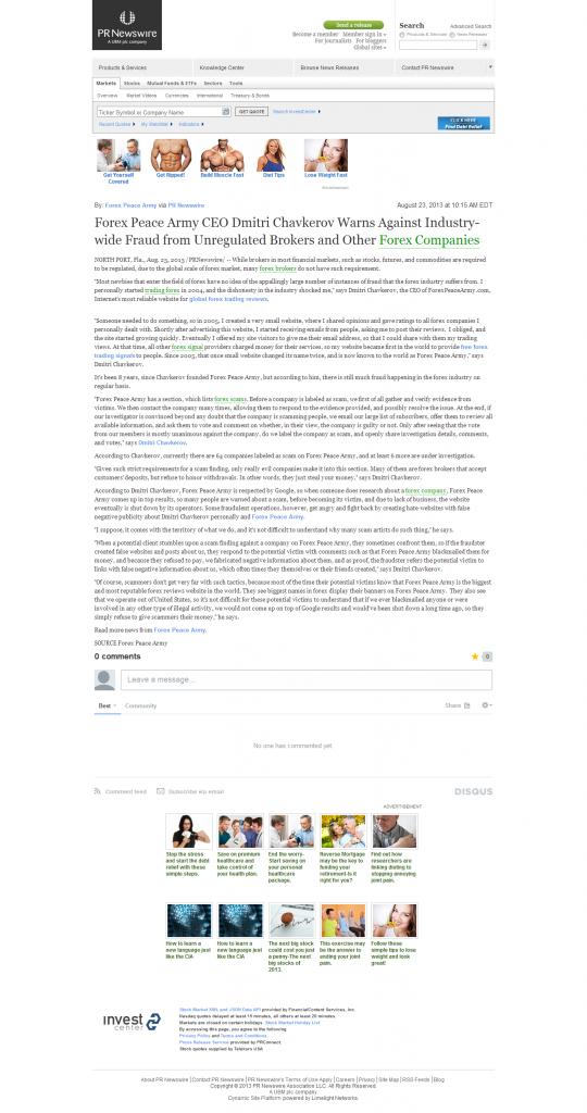 Forex Peace Army - FinancialContent – PR Newswire