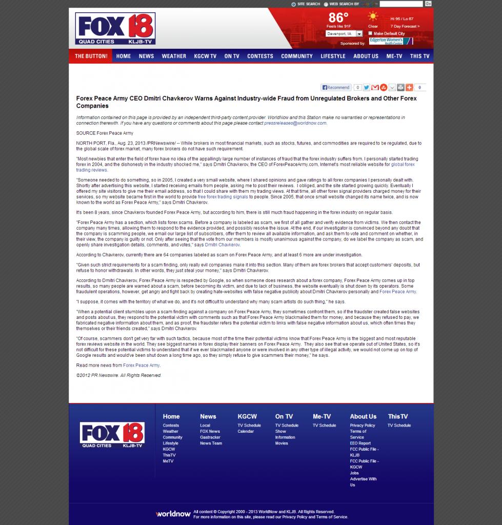 Forex Peace Army - KLJB-TV FOX-18 (Davenport, IA)