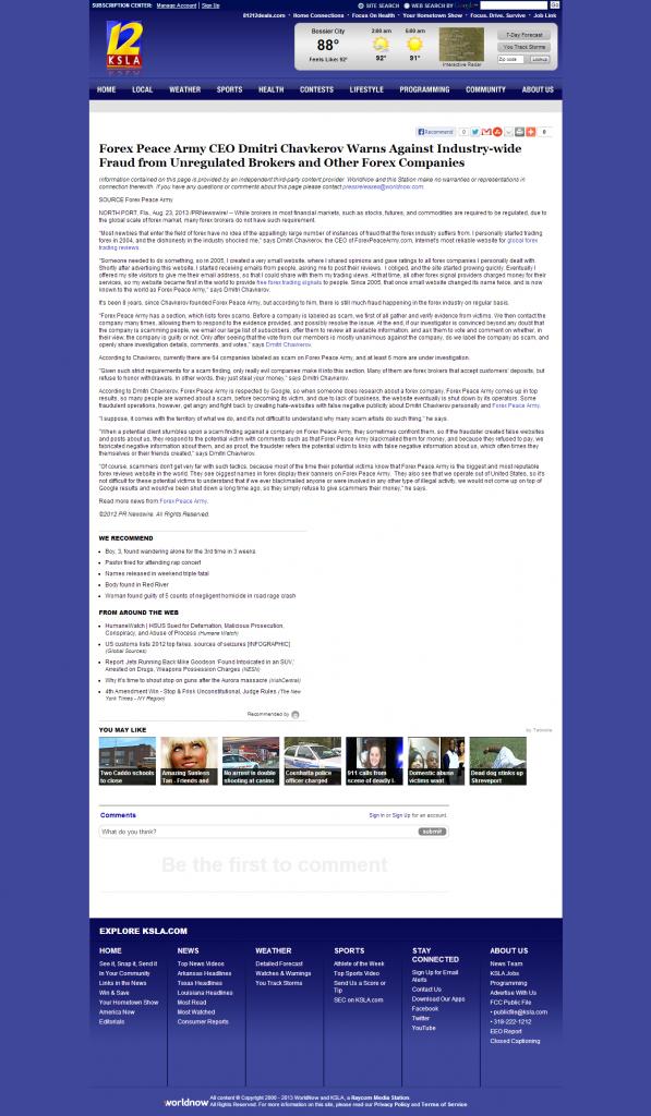 Forex Peace Army - KSLA CBS-12 (Shreveport, LA)