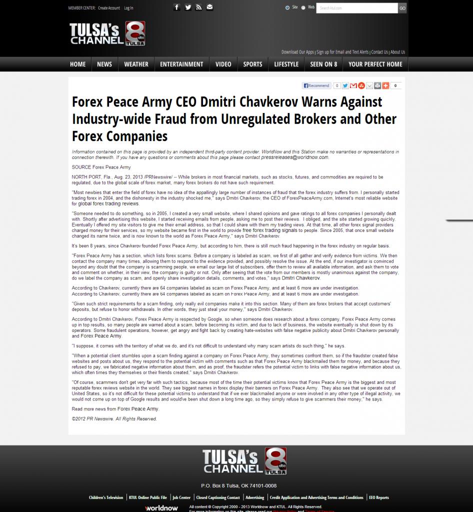 Forex Peace Army - KTUL-TV ABC-8 (Tulsa, OK)
