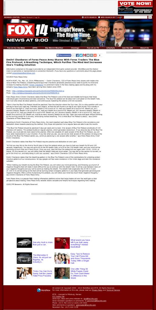 Dmitri Chavkerov - Add Blue Fire Protocol to your Trader Toolbox - KFJX-TV FOX-14 (Pittsburg, KS)