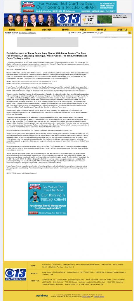 Dmitri Chavkerov - Add Blue Fire Protocol to your Trader Toolbox - KSWT-TV CBS-13 (Yuma, AZ)