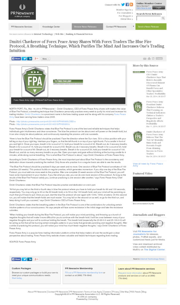 Dmitri Chavkerov - Add Blue Fire Protocol to your Trader Toolbox - PR Newswire