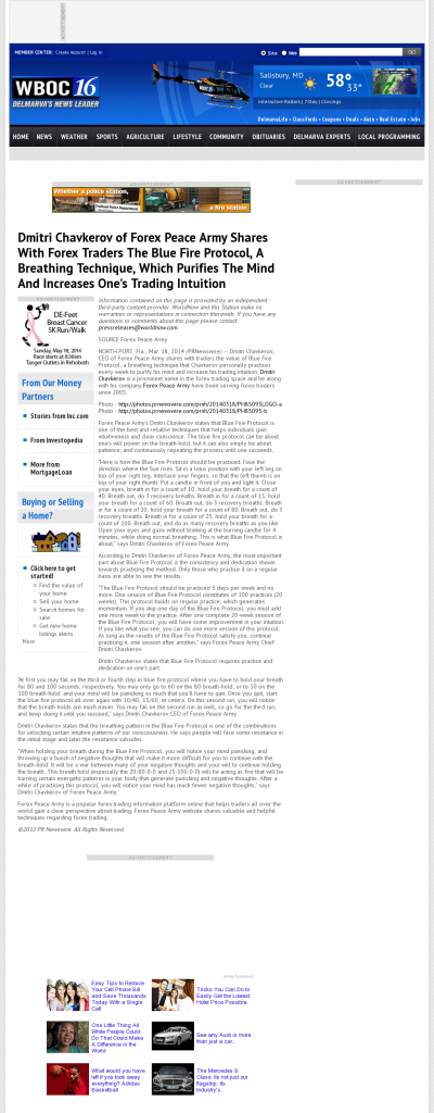 Dmitri Chavkerov - Add Blue Fire Protocol to your Trader Toolbox - WBOC CBS-16 (Salisbury, MD)